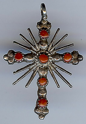 Vintage Zuni Indian Double Sided Silver Turquoise And Coral Cross Pendant