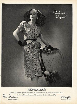 FOXBROWNIE Fashion Page Ad 1944 - Print Dress and Huge Hat