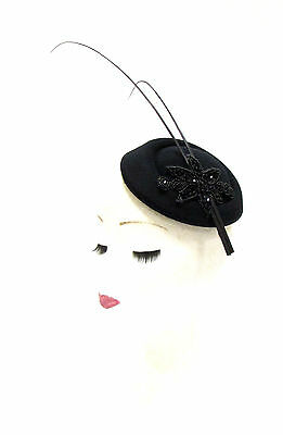 Black Quill Feather Beaded Pillbox Hat Hair Fascinator Vtg Races Statement 2229