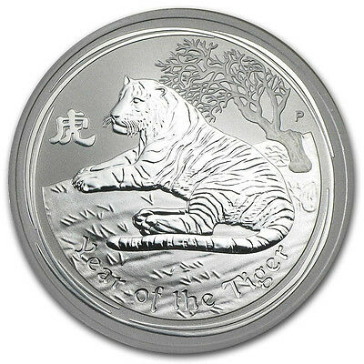 2010 Perth Mint Australia  $ 0.5 Tiger Half 1/2 oz Silver Coin