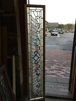 Sg 1219 Antique Stained And Textured Glass Transom Window 14 X 73