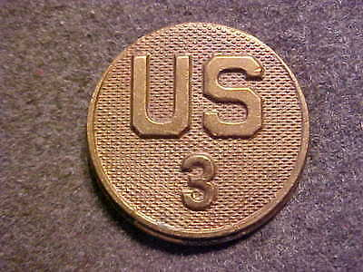 Rare Old Ww1 Bronze Us Army Us 3Rd Regiment Enlisted Collar Disk