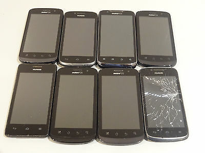 Lot of 8 Metro PCS Cell Phones & Smartphones Mixed Models AS-IS