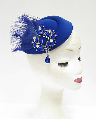 Royal Blue Silver Feather Pillbox Hat Headpiece Hair Fascinator Vtg Races 2238