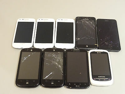 Lot of 9 AT&T Cell Phones & Smartphones Mixed Models AS-IS