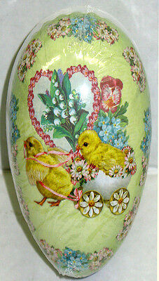 """Vintage Paper Mache Easter Egg (6x4"""") CHARIOT CHICKS Sealed MINT Made Germany"""