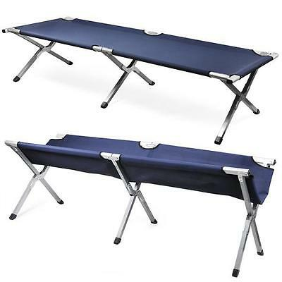 Navy Aluminium Military Army Camping Folding Camp Bed Cot w/ Carry Bag Case NEW