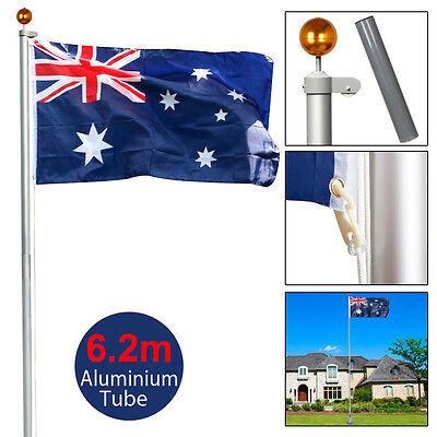 New 6.2M/7.2M Aluminum Telescoping Flagpole with Gold Ball