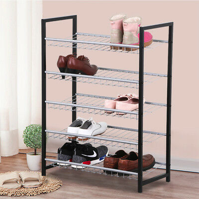 Heavy Duty 5 Tiers Metal Shoe Rack Storage Shoes Organizer Standing Shelf Holder