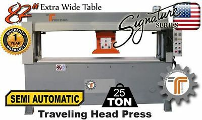 NEW!! CJRTec 25 Ton Traveling Head Clicker Press Semi Automatic Extra Wide Table