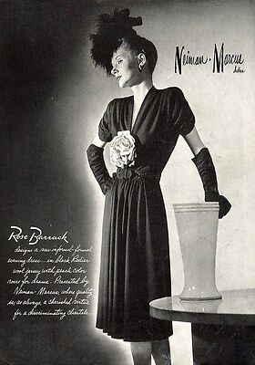 ROSE BARRACK 1942 Dress Fashion Ad Page - NEIMAN MARCUS Dallas Texas