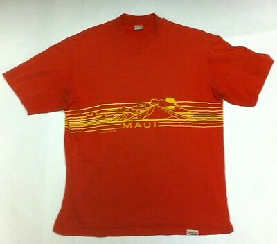 Vintage 1980 MAUI Hawaii T Shirt Large red Crazy Shirts 80s surf USA VTG Men's L