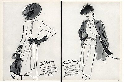 ILLUSTRATED FASHION PAGES from Vogue 1943 by ERIC Henri Bendel Adele Simpson