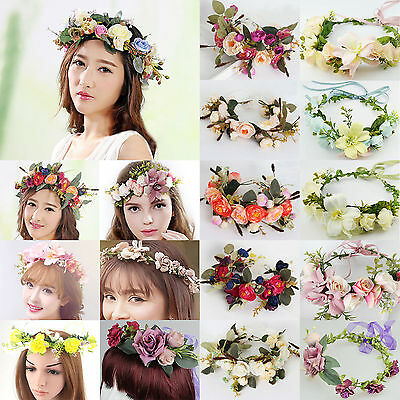 High New Women Wedding Flower Hair Garland Crown Headband Floral Wreath Hairband