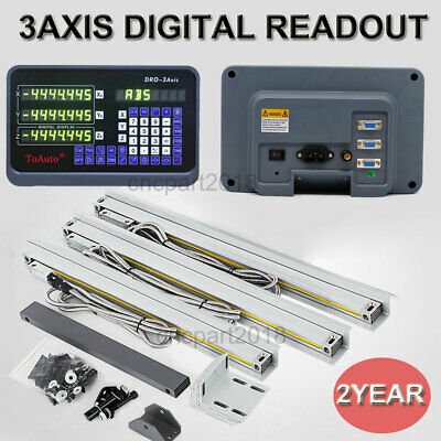 Digital Readout 3 Axis DRO Kit Milling Lathe Machine 5µm Glass Linear Scales