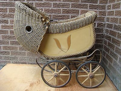 Antique RARE Wicker Baby Carriage Buggy Pram Vintage Doll Stroller 1930's