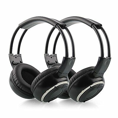 2x IR Wireless Cordless Dual Channels Infrared Stereo Headphones Headsets Kids
