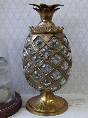 26 cm Vintage HollyWood Regency Brass Glass Pineapple Container - Quilted Glass