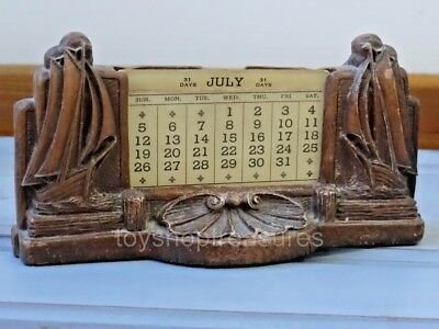 Vintage Perpetual Flip Calendar Ships Business Card Holder - Beach Nautical
