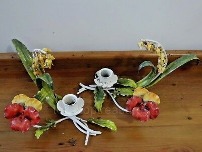 2 ITALIAN Tole Vintage Pansy Flowers Candle Holders  - Made in Italy