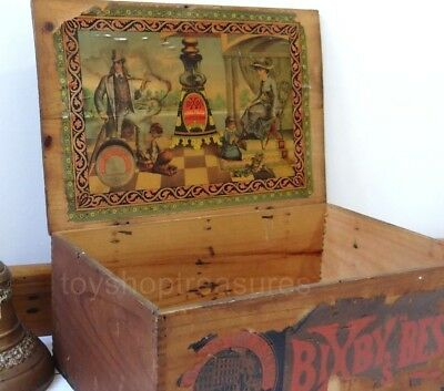 1800s Antique Wood Advertising Box Bixby's Best Blacking Boot Shoe Polish
