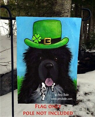 Black NEWFOUNDLAND A BIG WET IRISH KIS 12 x 18 Garden flag no pole By Amy Bolin