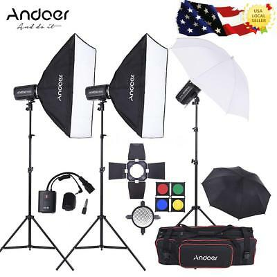 Andoer Studio Strobe Flash Light Kit with Light Stand + Bag etc for Photography