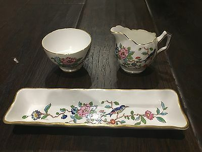Gorgeous!! Aynsley Fine Bone China Pembroke Pattern Small Sugar & Creamer & Tray