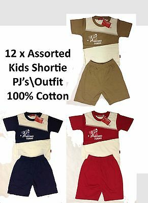 12 Kids Boys T Shirt Shortie PJ Set Cotton Outfit Pyjama Wholesale Clearance Lot