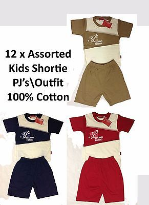 12x Kids Boys T Shirt Shortie PJ Set Cotton Short Sleeved Outfit Pyjama Job Lot