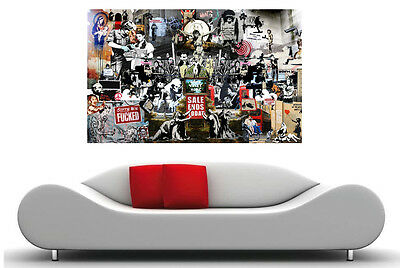 Banksy Street Art Collection Huge 24x16 Canvas Print Collage Vol1 Graffiti NYC