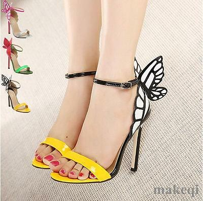 Women Ladies Shoes Butterfly Heeled Sandals  Ankle Strap High Heels Stiletto New