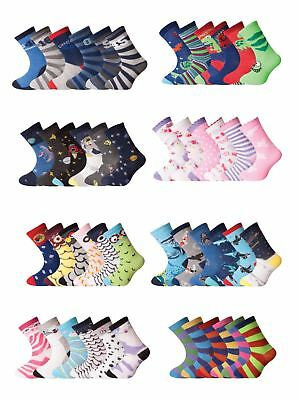6/12 Pairs Girls Boys Character Cotton Socks Lot Childrens Kids Novelty Designer