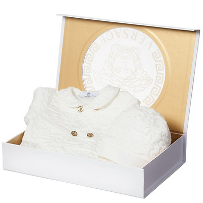 Gianni Versace Unisex Babygrow & Hat Set-Baby 6 Months-In Box-Cream-Romper-Young