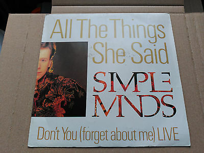 Single Promo Simple Minds - All The Things She Said - Virgin Spain 1986 Vg+