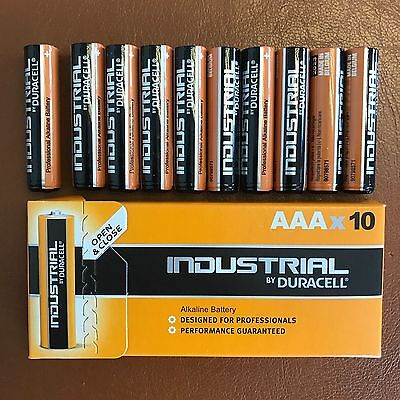 10 Duracell AAA Industrial Procell Alkaline Batteries LR03 MN2400 Expiry 2023