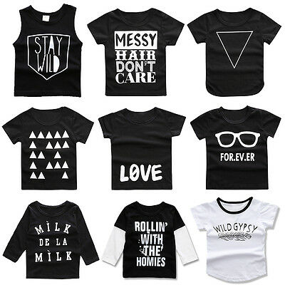Fashion Baby Toddler Kid Casual T-shirt Girl Letters Tops Cotton Boy Vest 18M-4T