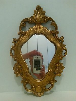 Vintage Gold Gilt Ornate Leaf Wall Mirror Scrolls