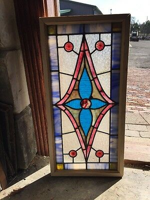Sg1225 Antique Stainglass Candycane Jewel Transom Window 15.5 X 31.25