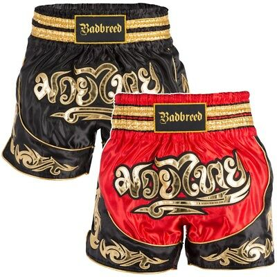Badbreed Python Thai Shorts Muay Thai Kickboxing Martial Arts MMA Red Black Gold