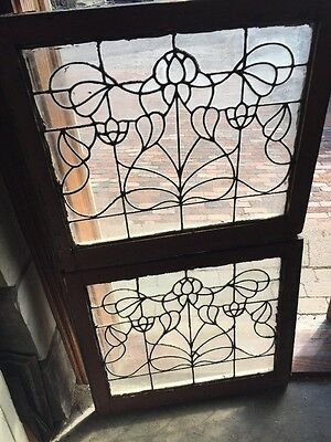 Sg 1228 2Available Price Separate Antique Leaded Glass Window Floral 25 X 28.25