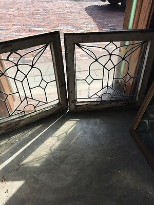 Sg 12292 Available Price Separate Antique Leaded Glass Window 22.5 X 23 Hi