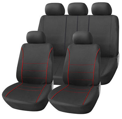 Saab 9000 Hatchback 85-98 Black Sport Seat Covers With Red Piping