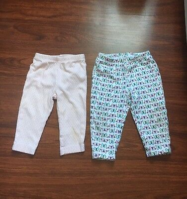 Lot Of 2 Carter's Baby Girls Leggings Size 6 & 9 Months