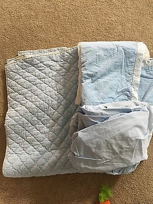 POTTERY BARN KIDS  Washed Blue Velvet Crib Skirt & Quilt