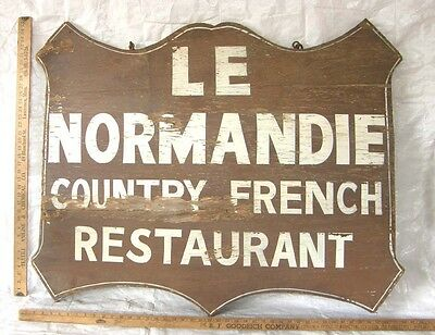 Big Rustic Hand Painted Hanging Sign Le Normandie French Country Restaurant