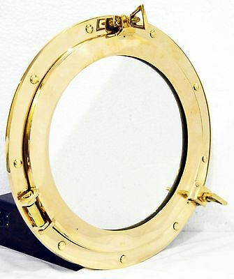 "12""Round Window Porthole-Shiny Brass Ship Porthole Mirror-Home & Wall Decor"