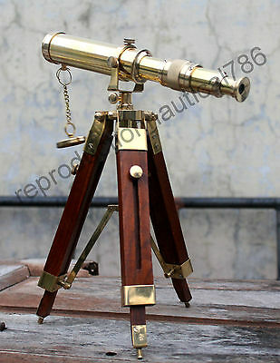 Marine Spyglass Vintage Nautical Brass Telescope Scope With Wooden Tripod Decor