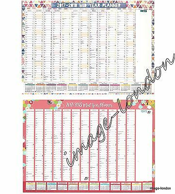 Large A1 2017 2018 Academic Mid Year Wall Planner Calendar