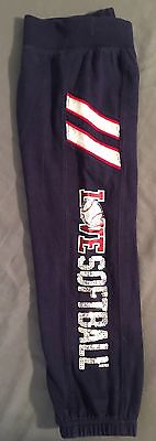 """Girls Justice """"Love Softball"""" embellished sweat pants Navy Blue Sparkle Size 6"""